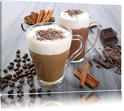 Heiße Schokolade und frischer Kaffee Format: 100x70 auf Leinwand, XXL riesige Bilder fertig gerahmt mit Keilrahmen, Kunstdruck auf Wandbild mit Rahmen, günstiger als Gemälde oder Ölbild, kein Poster oder Plakat