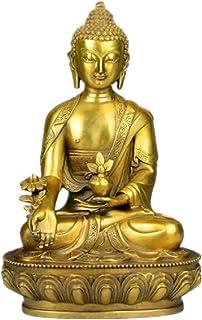 Feng Shui Small Statue, Meditation Pharmacist Buddha Statue, Pretty and Lucky Brass Buddha Hand Desk Decoration