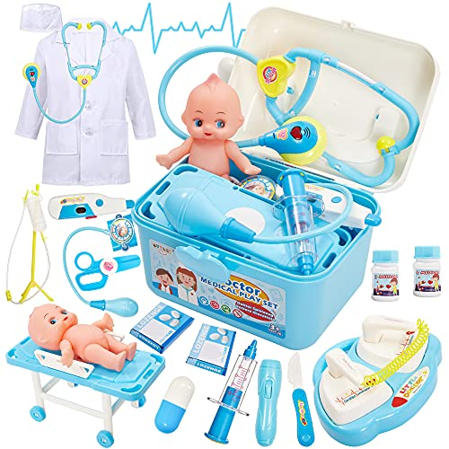 BUYGER Jouet Malette Docteur Enfant Deguisement Medecin Poupon Cadeau pour Fille Garcon 3 Ans, Jeu d'imitation, Bleu