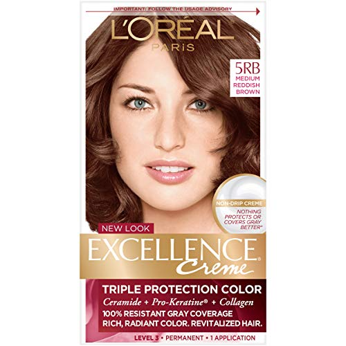 L'Oreal Paris Excellence Creme Permanent Hair Color, 5RB Medium Reddish Brown, 100% Gray Coverage Hair Dye, Pack of 1