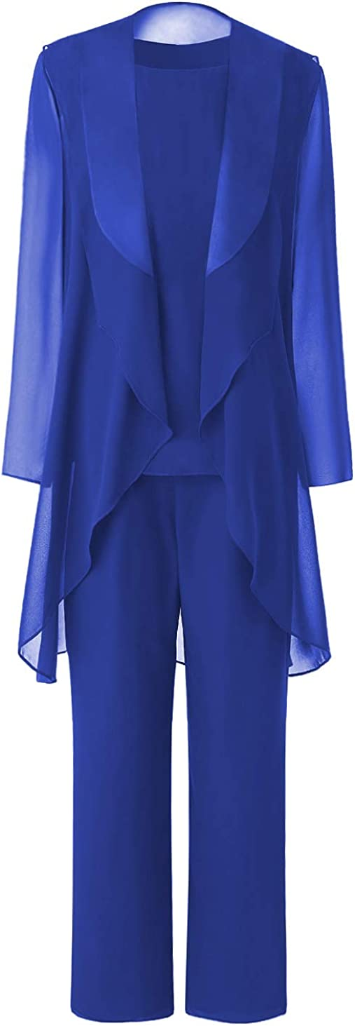Fitty Lell Women's Elegant Chiffon Mother of The Bride Dresses 3 Pieces Mother's Outfit Pant Suits for Wedding