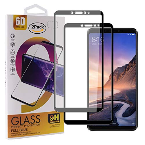 Guran [2 Stück Gehärtetes Glas Bildschirmschutzfolie für Xiaomi Mi Max3 Smartphone Full Coverage HD Schutzfolie Film Kompatibel Panzerglasfolie - Schwarz