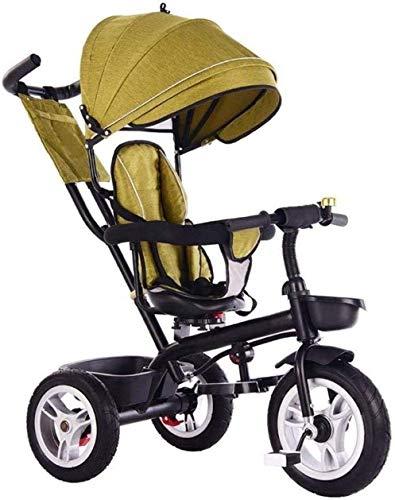 Kindertrikes driewieler met drukknop 4-in-1 duwen en rijden wandelwagen driewieler verstelbare stoel met luifel duwhandvat groei-met hoofd wandelwagen Trike Convertible baby product