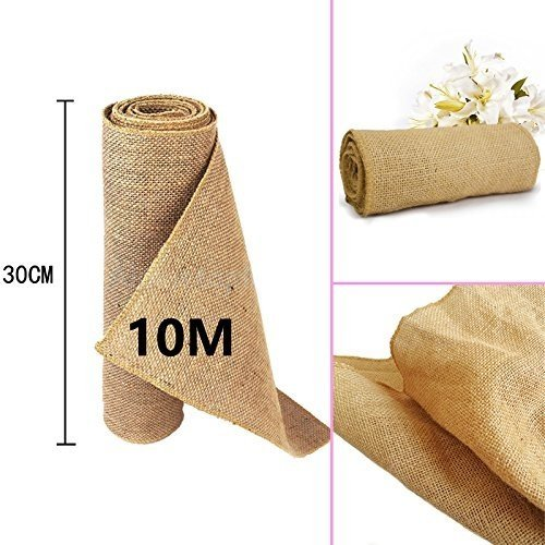 time to Sparkle 30cmx10M Rústica Yute Rollo Rodar Burlap Jute Natural decoración Boda
