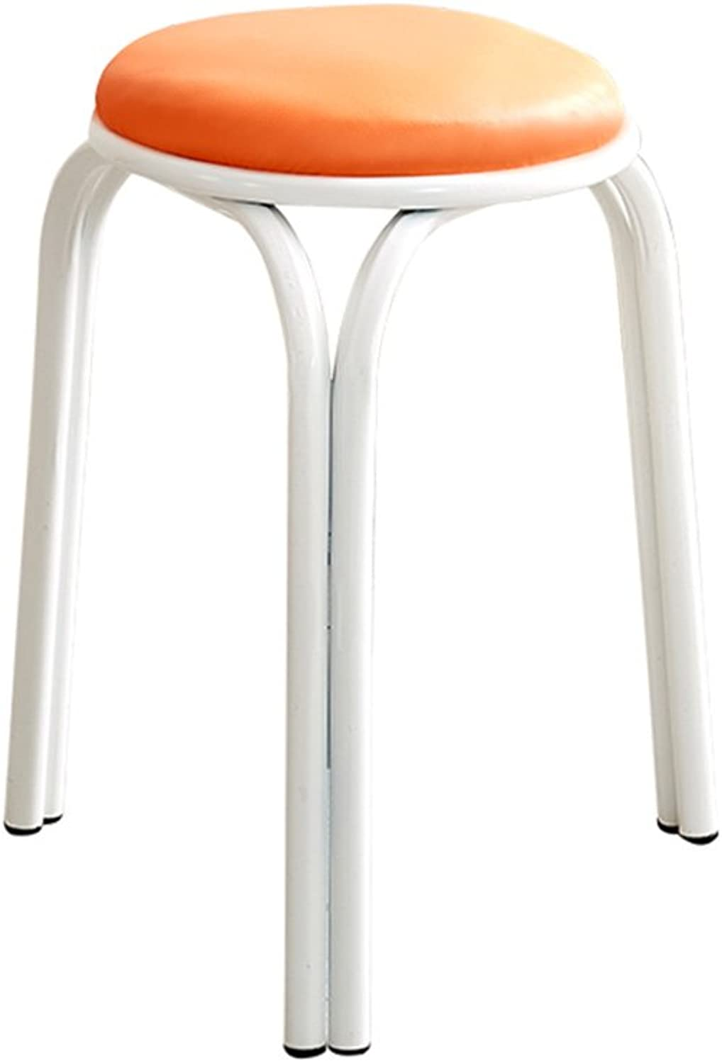 XUERUI Barstools Chair Plastic + Metal 28.5CM  45CM Pink, Yellow, Green, orange Strong Stability (color   orange)