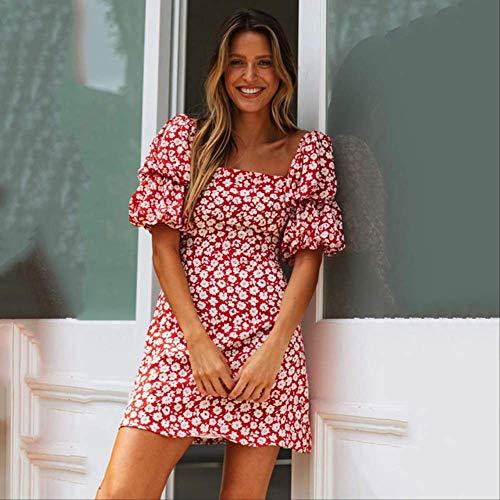 TSEINCE Rood Gebroken Bloemen Korte Jurk Ruches Lantaarn Mouw Casual Mini Jurk Vrouwen Zomer Streetwear Backless Vintage s Mujer