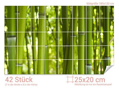 GRAZDesign Fliesenaufkleber Bambus-Wald für Kacheln Bad-Fliesen mit Fliesenbildern überkleben (Fliesenmaß: 25x20cm (BxH)//Bild: 180x120cm (BxH))