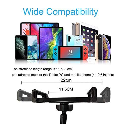 EasyULT Schwanenhals Tablet Halterung, Tablet Halter, Universal Ständer Verstellbarer Arm im Bett für iPad Mini 2 3 4, Neu iPad Pro 2020, iPad Air, iPhone, und Weitere(Schwarz)