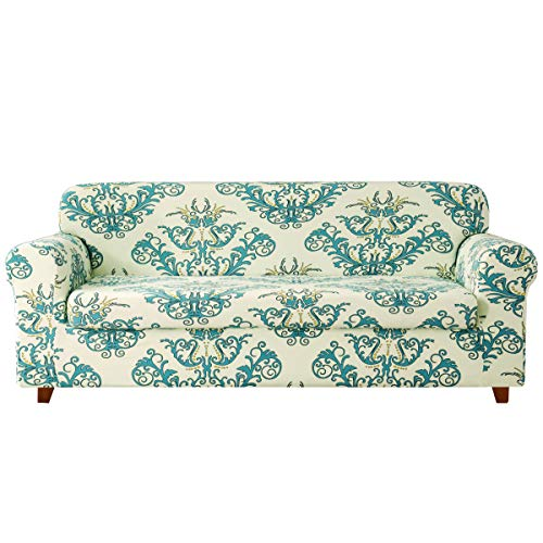 TIKAMI 2-Piece Sofa Slipcovers Spandex Printed Fit Stretch Couch Cushion Cover Washable Furniture Protector(Large,Green)