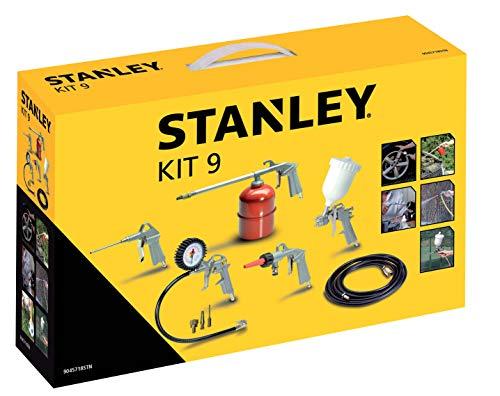 Stanley 1884 Multi-Druckluft-Zubehör Kit 9 mit Reifenfüller, Ausblaspistole, Farbspritzpistole, Sprühpistole, Waschpistole und Druckluftschlauch für Kompressor