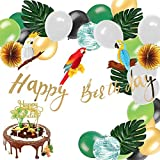 Easy Joy Decoration Tropical Anniversaire Happy Birthday Kit Perroquet Deco + Ballons + Feuille Artificielle Verte + Happy Birthday Cake Topper Or - 36pcs
