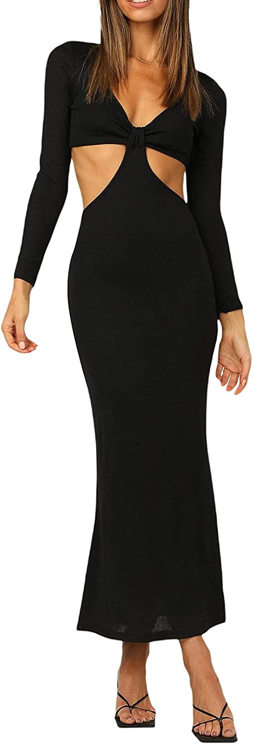 Women's Summer Fall Sexy Backless Dress Adult Girl Solid Color V-Neck Cutout Club Night Out Party Dresses Y2k Streetwear