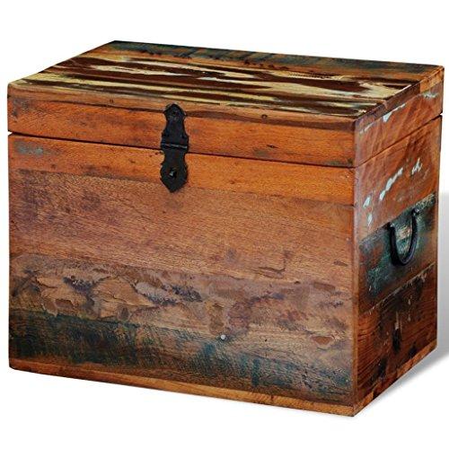 UnfadeMemory Baúl de Madera Vintage con Tapa,Arcon de Almacenaje,Caja Madera Decorativa,Estilo Antiguo,Madera Maciza Multicolor Reciclada,39x28x31cm