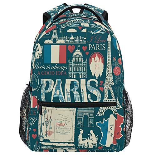 Oarencol Rucksack Frankreich Paris Eiffelturm Architektur Landmarks Map Bookbag Französische Flagge Tagesrucksack Reise Wandern Camping Schule Laptop Tasche