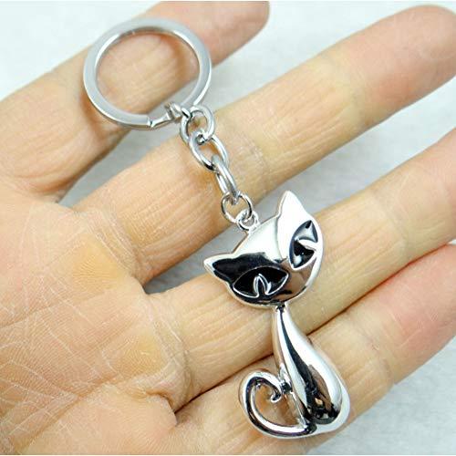 N/ A mode creatieve sleutelhanger ring sleutelring zilver kat sleutelhanger hanger cadeau gereedschap mannen auto accessoires