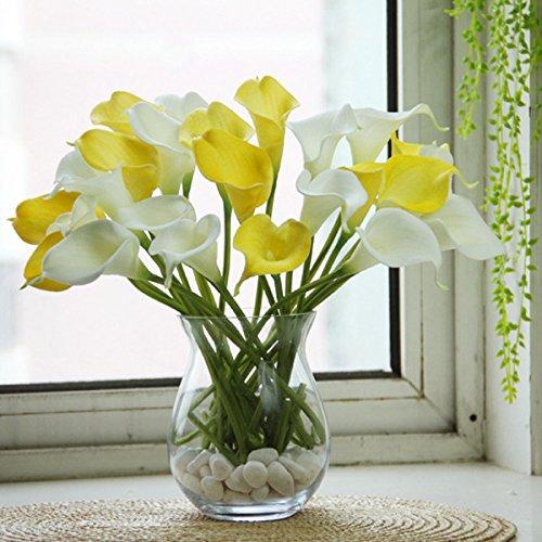 Global Brands Online 10pcs Cala látex Flores Artificiales Flores de lis de la Boda Ramo de Novia