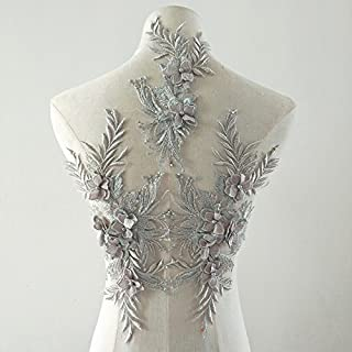 Beaded Flower Sequence lace Applique Motif Sewing Bridal Wedding 3in1 A5 3D (Silver)