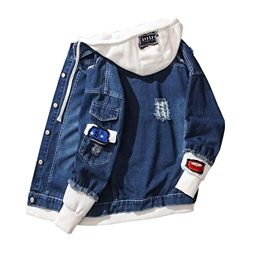 HONIEE Mens Patched Denim Jacket with Hood Ripped Jean Jacket for Men (Dark Blue, TAG S)