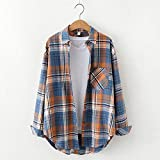 A-HXTM Camisa Blusa para Mujer Camisa a Cuadros para Mujer Tops Blusas Informales de algodón para Mujer La Ropa de Dama de Estilo Universitario se Aplica al Trabajo Negocios o Uso Diario etc.-M_33520