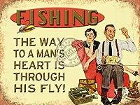 彼はフライを通して男への道を釣ります! メタルポスター壁画ショップ看板ショップ看板表示板金属板ブリキ看板情報防水装飾レストラン日本食料品店カフェ旅行用品誕生日新年クリスマスパーティーギフト