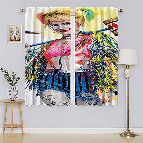 Harley Quinn – Suicide Squad – Paneles de cortina opaco, cortinas opacas y cortinas que mantienen calientes cortinas para dormitorio de 137 cm de ancho x 1177 cm de largo