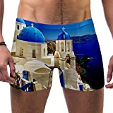 LORVIES Santorini Grecia Paisaje Bóxer de natación para hombre, pantalones cortos de pierna cuadrada, bañador de secado rápido, S multicolor XL