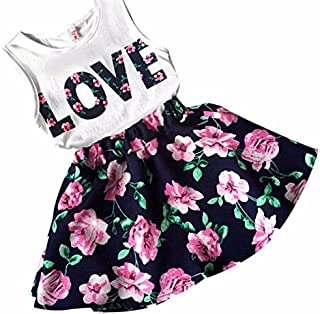 HOT Sale!! 2-7 Years Old Girls Love Letters Printed Vest Floral Dress,Ankola Two Pieces Set Clothes Children Skirt Suit (Navy-Sleeveless, 6-7Y)