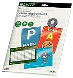 Leitz Bolsas de plastificación iLam, Transparente, Formato A4, Con UDT, Grosor de la bolsa 80 micras, Paquete de 20, 73650000