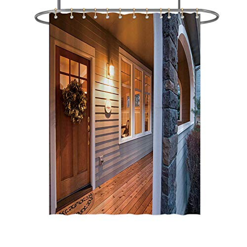 Hitecera Evening Glow of The Front Porch,Bathroom Decor Set 133381 with Hooks 71 in by 96 in (WxH)