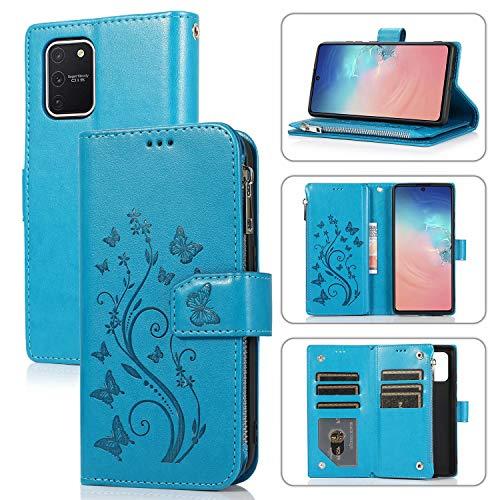 Miagon Reißverschluss Hülle für Samsung Galaxy S10 Lite,Magnet Schutzhülle Brieftasche Tasche Ständer Kartenfach Schmetterling Blume Prägung PU Leder Flip Geldbörse Cover,Blau