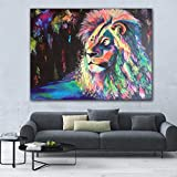 Lienzo arte de pared colorido León animales pintura abstracta moderna imagen de arte de pared para el hogar arte de impresión de pared 30x40 cm sin marco