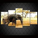 LWJPD Cuadro en Lienzo 5 Partes El Elefante En La Sala De Estar, Impresión En HD, Póster De Pintura, Imagen De Arte De Pared Moderno En La Decoración del Hogar De La Sabana Sin Marco 60 Inch