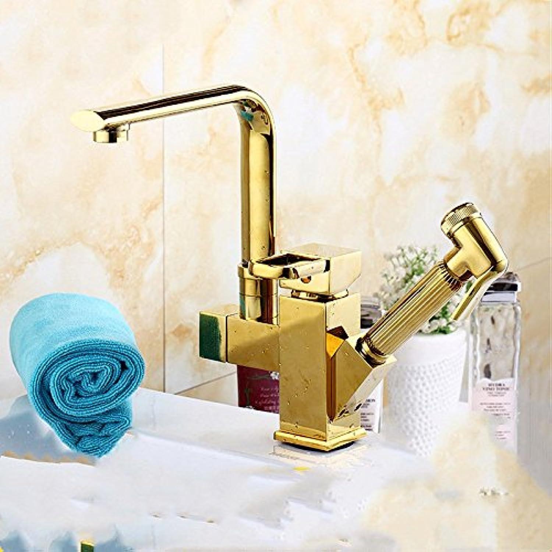 S.TWL.E Küche Küchenarmatur Waschtischarmatur Mischbatterie Spülbecken Armatur Wasserhahn Bad Ziehen Sie Kupfer Waschbecken mit warmen und kaltem Leitungswasser hohe B