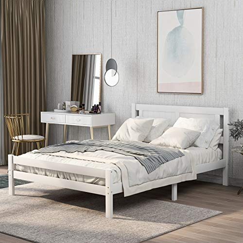 jeerbly Łóżko podwójne białe. Masywna drewniana rama łóżka z litego drewna mebel do sypialni dla dorosłych, dzieci, młodzieży 4ft6 Double (biała 190x135cm)