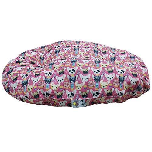 Cuscino Ovale Fashion Animals Chiwa in Twill Cane e Gatto Made In Italy (Rosa-M-75x50x17cm)
