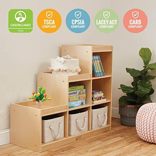ECR4Kids Birch 3-2-1 Cube Storage Cabinet, 6-Compartment Wood Bookcase, Kids Wooden Shelf, Tiered Organizer, Multi-Level Toy Shelf, Modular Storage Shelves, Durable Birch Toy Display - Natural