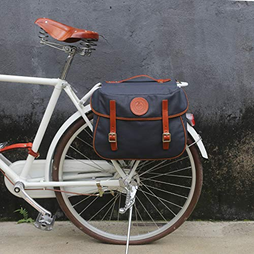 TOURBON Waterproof Canvas Bicycle Bike Rear Seat Carrier Bag Cycling Double Panniers Bag Pack