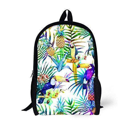 CHAQLIN Fantásticas mochilas escolares de poliéster duraderas para niñas adolescentes Verde Trópico-2 Medium