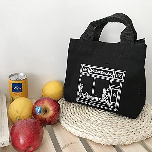 Nueva bolsa de almuerzo Lona Lonchera Picnic Tote Tela de algodón Bolso pequeño Bolsa Contenedor de cena Bolsas de almacenamiento de alimentos para oficina Dama-Negro