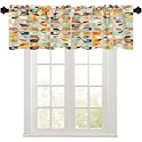 Kitchen valances for Windows, Midcentury Geometric Retro Background Vintage Brown Orange and Teal Colors Seamless Floral, 1 Panel 42' W x 18' L Window valances for Kitchen