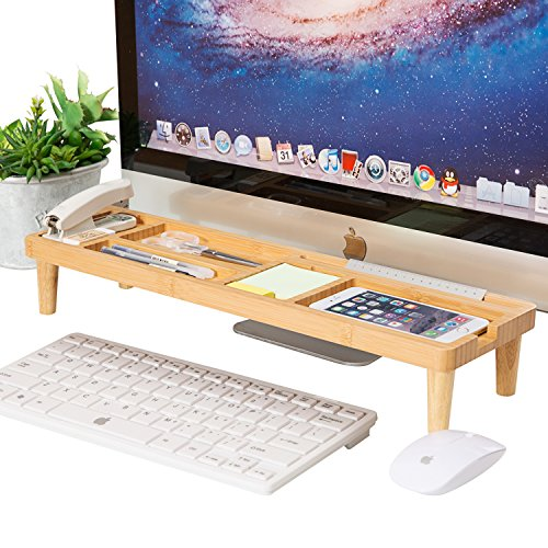 Bambus Multi-Funktion Schreibtisch Organizer, AhfuLife Haus und Büro Schreibtisch Zubehör Organizer mit 6 Fächer + Anti Staub Regal über Tastatur für Smartphone, iPad