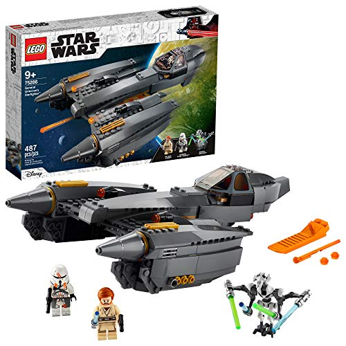 LEGO Star Wars: Revenge of The Sith General Grievous?s Starfighter 75286 Spacecraft Set with General Grievous, OBI-Wan Kenobi and Airborne Clone Trooper Minifigures, New 2020 (487 Pieces)