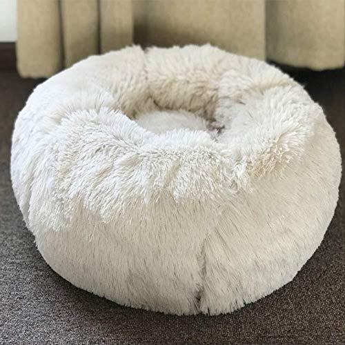 TOMSSL Weißes Haustiernest Durchmesser 50cm Katze Hund Matratze Schlafrest warm atmungsaktiv bequem Vier Jahreszeiten universal langes Haar Pfau