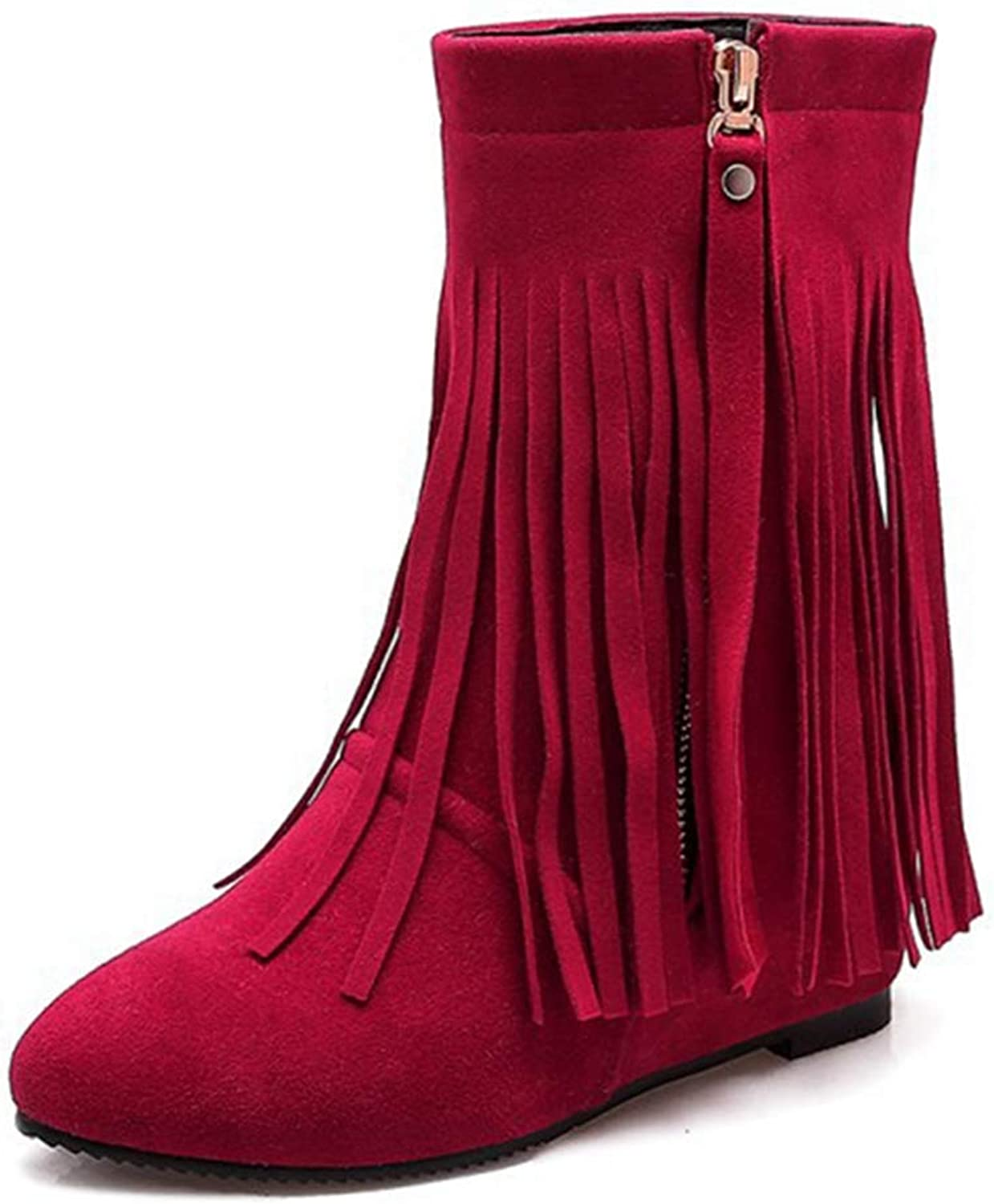 GIY Womens Fringe Wedge Ankle Boots Suede Round Toe Zipper Hidden High Heel Bootie Comfy Tassel Short Boot