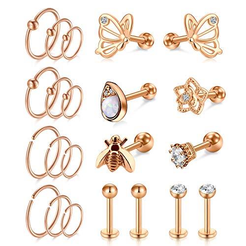 Anicina Tragus Earring Stud Earrings Lip Rings for Women Stainless Steel Cartilage Hoop Earring Helix Tragus Piercing Jewelry