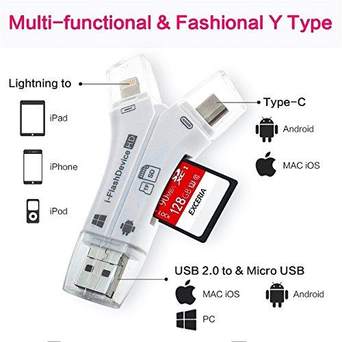 Micro SD Kartenleser, ROCK 4 in 1 Externe Kartenlesegerät USB Stick Micro SD & TF Card Reader Adapter für iPhone iPad Mac iOS Android Windows PC (Weiß)