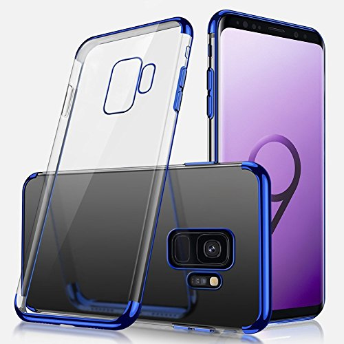 Coque Galaxy S9 Plus,Etui Galaxy S9 Plus Silicone Gel Transaparent + Métal Coque Bling Giltter Brillant Coque Liquid Crystal Ultra Mince Hybrid Premium TPU Souple Housse Etui pour Galaxy S9 Plus,Bleu