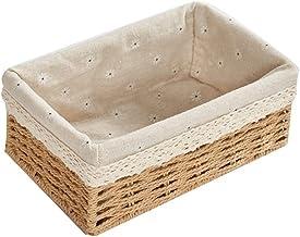 SKGOFGODcw Home Storage Bins Storage Baskets ,Stackable Woven Basket Paper Rope Bin, Storage Boxes for Makeup Closet Bathr...