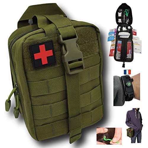 Trousse de premiers secours verte tactique Assemblée en FRANCE kit complet avec bracelet paracorde de survie + 2 tire tiques Conçu pour les randonnée avec votre chien,voyage,militaire