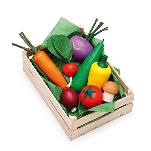Erzi 28110 Sortiment Gemüse aus Holz, Kaufladenartikel für Kinder, Rollenspiele